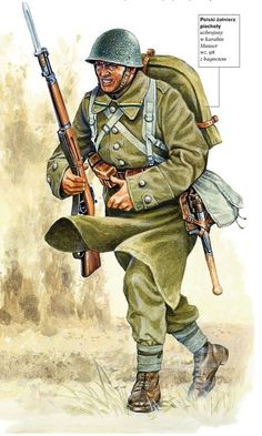 Polish soldier infantry armed with a rifle Mauser mod. 98 with bayonet Military Gear, Military History, Ww2 History, Ww2 Uniforms, Military Uniforms, Poland Ww2, German Soldiers Ww2, Army Uniform, Army Soldier