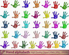 Hand alphabeth clipart, child paint hand clip art, kids children invitation party, scrapbooking, digital instant download, png jpg 300dpi
