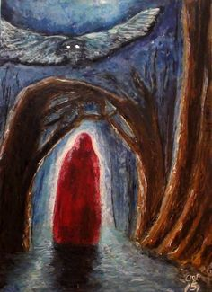 ACEO ORIGINAL Painting Gothic Red Robe Figure Owl Trees Tarot (NOT A PRINT) #Miniature