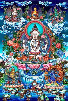 Avalokiteshvara with Manjushri, Vajrapani, White Tara, and Green Tara