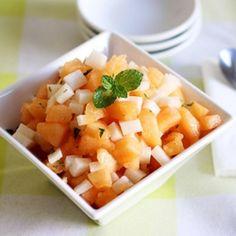 Jicama Melon Salad. Jicama Melon Salad with Honey-Lime Dressing #vegetarian #recipes