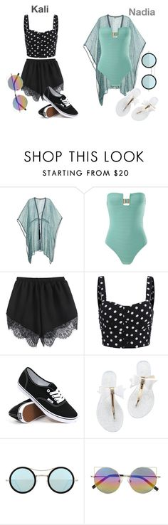 """Pool Party K + N"" by englishtea-xx ❤ liked on Polyvore featuring Talitha, Prism, Vans, Kyme and Linda Farrow"