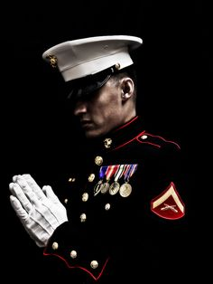 """""""Heavenly Father, help me fulfill my duties as a member of the United States Marine Corps. Help me remember for what we stand for I will always be a Marine"""" True meaning of a hero Once A Marine, Marine Mom, Us Marine Corps, Military Love, Military Photos, The Few The Proud, Men In Uniform, Marines Uniform, American Pride"""