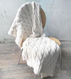 White Cable Knit Throw Blanket by Relais Knitwear