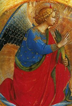 Fra Angelico, Perugia triptych, angel of the annunciation, 1437 (detail)