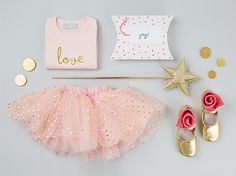 Beautiful Bob and Blossom Love T-shirt with Pink & Gold Spotted Party Skirt... Get the Look!