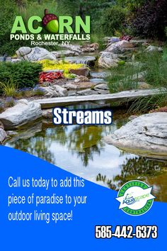 Custom Fish Pond Design, Maintenance, Repair and Installation Service in the Rochester (NY) and Western New York areas. Acorn works with you to plan and create your own unique, personal low maintenance water feature. Waterfall Design, Pond Waterfall, Outdoor Garden Rooms, Garden Stream, Pond Cleaning, Pond Maintenance, Building A Pond, Pond Fountains, Natural Pond