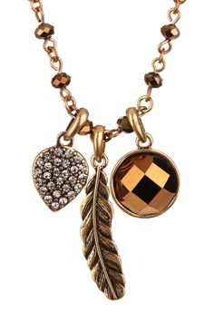 feathered charm necklace ++