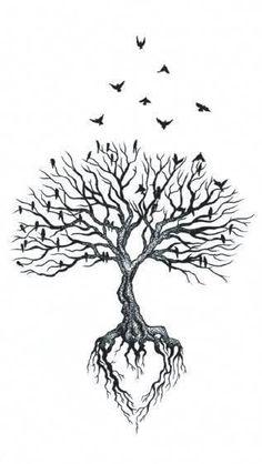 Tattoo Life, Roots Tattoo, Diy Tattoo, Tree Of Life Tattoos, Tree Back Tattoos, Tree Tattoo With Roots, Tattoos Of Trees, Small Tree Tattoos, Family Tree Tattoos