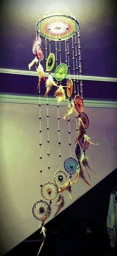 Mobile with small rainbow dream catchers. Very pretty. - Mobile with small rainbow dream catchers. Very pretty. Los Dreamcatchers, Beautiful Dream Catchers, Diy And Crafts, Arts And Crafts, Decor Crafts, Home Decor, Dream Catcher Mobile, Dream Catcher Craft, String Art