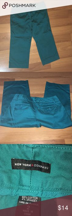 """Size 2 New York & Company Teal Capris Size 2 New York and Company Teal Stretch Capris. EUC.  Waist - 15 1/2"""". Inseam - 20"""". New York & Company Pants Capris"""