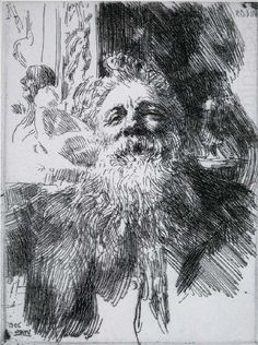 Anders Zorn, Swedish (1860-1920) Auguste Rodin, etching, 1906. Delteil 203, Asplund 207, Hjert & Hjert 136, ii/III. This state is described by D. as rare. 8 3/8 x 6 1/8 inches.