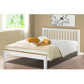 Amani Derby Bed in white waxed pine - Double Wooden Slats, Homestead Living, White Bedding, Double Beds, Simple House, My Room, Bed Frame, Mattress, Master Bedroom