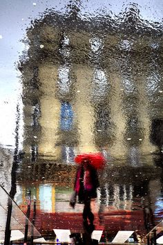 Christophe Jacrot ~ Paris under the Rain Red Umbrella, Under My Umbrella, Walking In The Rain, Singing In The Rain, Christophe Jacrot, Its Raining Its Pouring, Street Photography, Art Photography, Reflection Photography