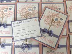 Sheltering Tree Wedding Invitations In Blushing Bride & Wisteria Wonder using Stampin' Up! products. 2015 Carolina Evans #stampinup #wedding
