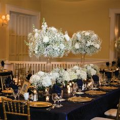 Hydrangea and Baby's Breath Centerpieces // Justin DeMutiis Photography //  Centerpieces: Artistry Designs Group // http://www.theknot.com/weddings/album/a-classic-timeless-wedding-in-tampa-fl-144319