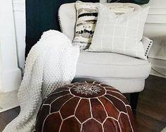 Bohemia Marrakech pouf leather Original by BohemiaMarrakechCom Leather Pouf Ottoman, Pouf Footstool, Moroccan Leather Pouf, Ottoman Slipcover, Moroccan Pouf, Poufs, Pouf Cuir, Pouf Design, Handmade Ottomans