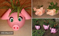 How to make Plastic Bottle Piggy Plant Vase step by step DIY tutorial instructions Plastic Bottle Planter, Reuse Plastic Bottles, Plastic Bottle Crafts, Recycled Bottles, Plastic Jugs, Recycled Crafts, Diy Crafts, Bleach Bottle, Little Presents
