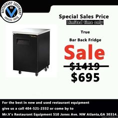 For the best in new and used restaurant equipment give us a call or come by to Mr.V's Restaurant Equipment. Big Sale onTrue Back Bar Fridge while in stock. So don't miss out on this great deal. For more info contact 404-521-2332 Deep Fryers, 6 eye range, Commercial Coolers, Commercial Freezers, Sandwich Preps, Convection Oven, Restaurant Equipment, Used Restaurant Equipment, New Restaurant Equipment, Gas Grill, Griddle, Mr.V's Restaurant Equipment, Atlanta, GA -