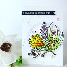 Vics crafts – a place for pretty paper and crafts Uniquely creative stamps Papermilldirect card Australian Flowers, I Card, Birthday Cards, Christmas Cards, Card Making, Paper, Creative, Pretty, How To Make