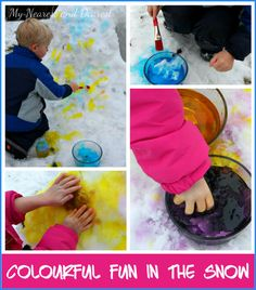 Snow painting at My Nearest and Dearest- you've gotta check out their rainbow igloo!