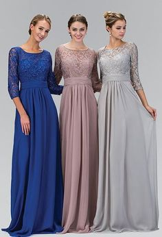 Cheap dress shirts custom made, Buy Quality dress for less prom dresses directly from China dress daisy Suppliers: Long A-line Silver Gray Modest Bridesmaid Dresses 2017 With Sleeves Chiffon Lace Formal Floor Length Wedding Party Dresses Evening Gowns With Sleeves, Evening Dresses With Sleeves, Wedding Gowns With Sleeves, Wedding Dress Chiffon, Modest Wedding Dresses, Trendy Dresses, Nice Dresses, Lace Chiffon, Chiffon Skirt