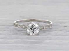Carat Art Deco Tiffany & Co. Engagement Ring - Antique Art Deco engagement ring made in platinum and centered with a GIA certified carat old E - Cinderella Engagement Rings, Platinum Engagement Rings, Antique Engagement Rings, Solitaire Engagement, Wedding Engagement, Art Deco, Unique Rings, Beautiful Rings, Tiffany Wedding Rings