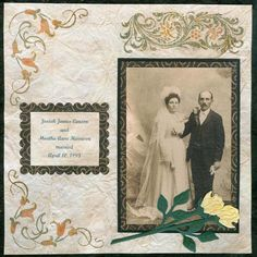 Check out this unvisited site: Vintage Wedding Scrapbook Layout TUTORIAL