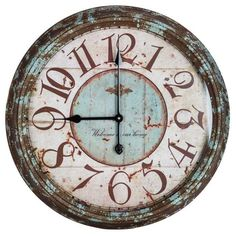 Hobby Crafts & Decor - Large Rusty Turquoise Round Metal Wall Clock