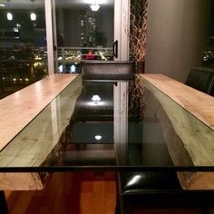 Live Edge Wood And Glass Dining Table In Maple Or Black Walnut by ChiTown Furniture