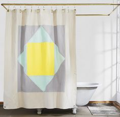 Check out the The Narlai – Mint Organic Cotton Canvas Curtain in Fabrics & Linens, Shower Curtains from Quiet Town for Ombre Shower Curtain, Elegant Shower Curtains, Colorful Shower Curtain, Shower Curtain Hooks, Canvas Curtains, Shower Liner, Marble Print, Bedding Shop, Walk In Shower