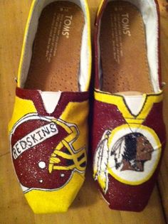 Washington Redskins Hand Painted Toms by ShoesByBrenda on Etsy