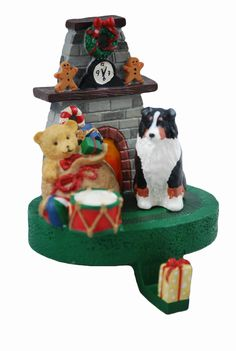 These Australian Shepherd dog stocking holders will look beautiful on your mantle this holiday season! Made of resin, each hanger is individually hand painted right here in the USA. The bottom of the holder is lined with felt to protect your fireplace mantle. They measure 5.5 inches tall and weigh approximately 1 lb .
