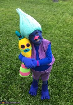 My Son Jacob is wearing the homemade costume to look like his favorite character from the Disney Movie Trolls. There is no costume out there for sale so Mommy decided she will fulfill Jacob'shopes in turning into Biggie for Halloween. Troll Halloween Costume, Toddler Halloween Costumes, Baby Costumes, Halloween Kids, Homemade Halloween, Zombie Costumes, Baby Girl Halloween, Halloween Couples, Group Halloween