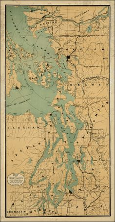 Map of Puget Sound -- Circles Showing Radius From 10 to 50 Miles - Barry Lawrence Ruderman Antique Maps Inc.