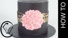 Black Chocolate Ganache Cake with Gold Chocolate Collar and Buttercream ...