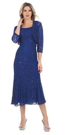 c38d539d386e Royal Blue Tea-Length Semi-Formal Dress with Lace Bolero Jacket