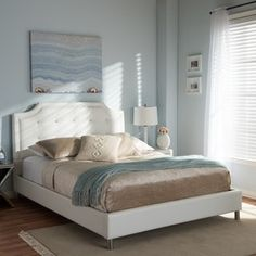 Shop for Carlotta White Modern Bed with Upholstered Headboard. Get free shipping at Overstock.com - Your Online Furniture Outlet Store! Get 5% in rewards with Club O! - 16363930