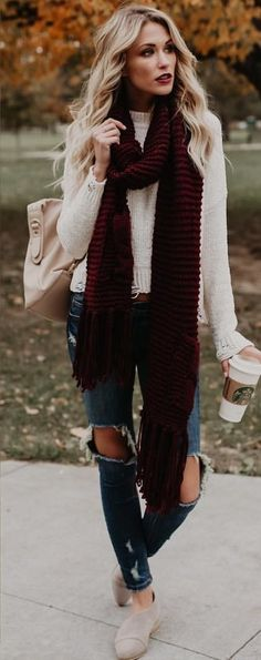 #winter #outfits beige sweater with maroon scarf