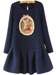 Diamond Pattern Vintage Blue Dress