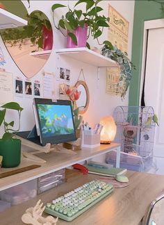 Indie Room Decor, Cute Room Decor, Aesthetic Room Decor, Room Design Bedroom, Room Ideas Bedroom, Bedroom Decor, Bedroom Inspo, Study Room Decor, Room Setup