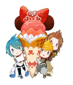 Modern AU: Terra, Aqua, and Ven all signed up for an ice cream contest together (one ticket) and ended up winning. Aqua was the only one who showed up to claim it.