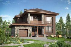 Проект дома из кирпича с гаражом, террасой, балконом Small House Exteriors, Dream House Exterior, Cool House Designs, Modern House Design, Style At Home, Prairie Style Houses, Home Design Floor Plans, Arch House, Country House Plans