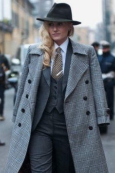 Sarah Ann Murray rocking that 3 piece and overcoat.