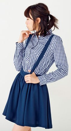 ギンガムチェックのサスペンダー付きシャツにスカパン♪ ☆ティーンズのスタイル・ファッション コーデ集☆