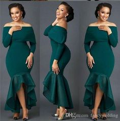 custom drsses Hunter green mermaid African bridesmaid dress long sleeve sexy guest dress cheap black tie evening ball mermaid dress from customdresskoko African Wear Dresses, Latest African Fashion Dresses, African Print Fashion, Casual Dresses For Women, Sexy Dresses, Dress Outfits, Elegant Dresses, Summer Dresses, Formal Dresses