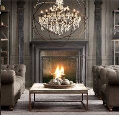grays, WOW, how elegant is this room??Plus gray hides dog hair! I LOVE EVERYTHING IN HERE.....that chandelier is just over the top. Only negative would be that you cannot wash those chairs.