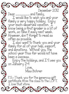 twas the week before christmas erica ventures country day school independent prek thank you letter Notes To Parents, Letter To Parents, Parents As Teachers, Parent Letters, Student Christmas Gifts, Christmas Thank You, Student Gifts, Christmas Stuff, Christmas Ideas