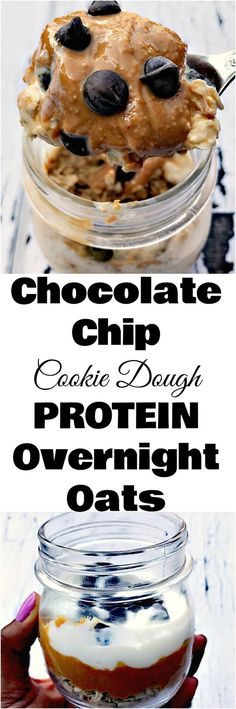 Chocolate Chip Cookie Dough Protein Overnight Oats is a quick and easy breakfast recipe with chocolate chips, vanilla, and peanut butter perfect for meal prep. (Budget Meals For Chocolate Chip Recipes, Chocolate Chip Cookie Dough, Chocolate Chips, Protein Overnight Oats, Overnight Oatmeal, Protein Oatmeal, Overnight Breakfast, Breakfast Bites, Protein Breakfast