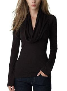 Love the Draping! Sexy Black Cowl Collar Long Sleeve T-shirt